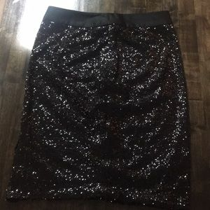 The Limited Black Sequin Skirt